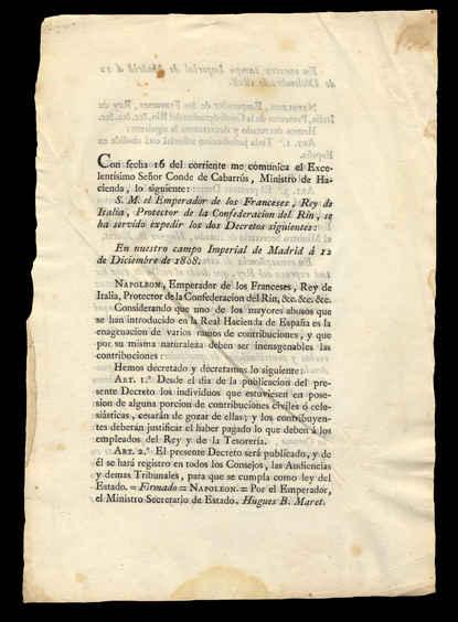 12 de diciembre de 1808. Anverso