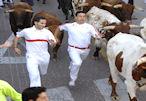 Dos corredores junto a los bueyes que guían la manada.