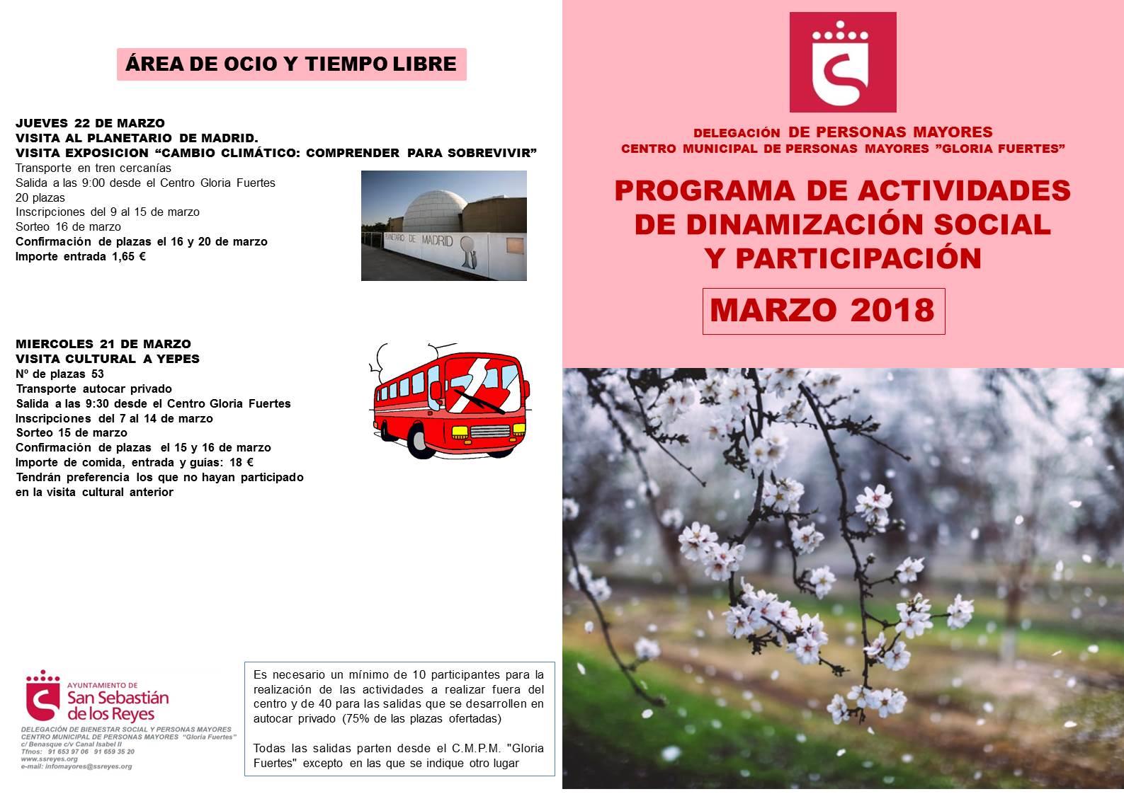 Programa de actividades de dinamización Mayores marzo 2018