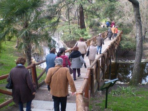 Varios mayores de Sanse caminan por el Parque del Retiro