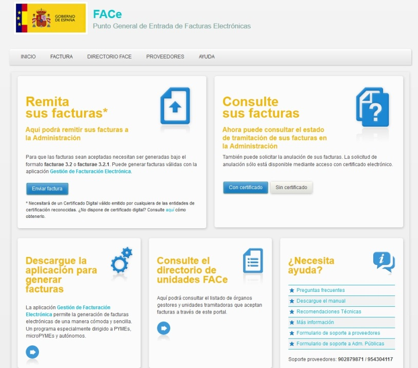 FACE - Punto General de Entrada de Facturas Electrónicas