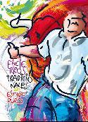 'A centímetros', del diseñador navarro Alfredo León, el cartel elegido para los encierros 2015 representa aun corredor perseguido por un toro.